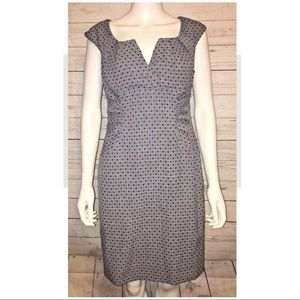 Evan Picone Grey Dress Black Polka Dots Sheath